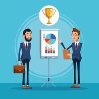 Empresários falando sobre cartoon de negócios