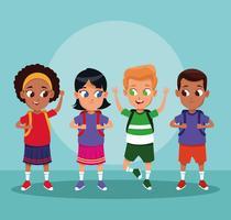 Desenhos animados de meninos e meninas de escola