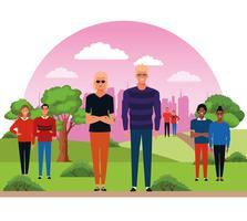 People in the city park vector