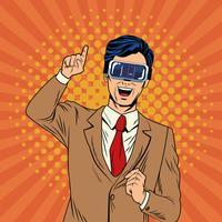 Businessman virtual reality pop art cartoon