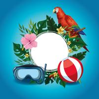 Summer round frame with cartoons vector