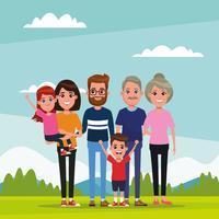 Família com desenhos animados de crianças