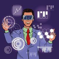 Desenhos animados do homem de negócios realidade virtual pop art
