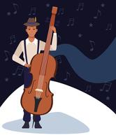 Dibujos animados de artista músico