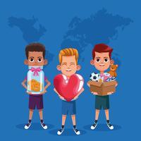 Kinderen donatie en liefdadigheid cartoon