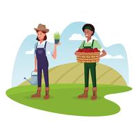 Agricultores que trabalham em desenhos animados agrícolas