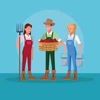 Landwirte, die in den Bauernhofkarikaturen arbeiten