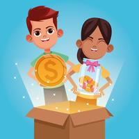 Kids donation and charity cartoon