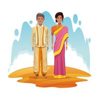 indian couple of india cartoon vector