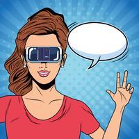 Mujer con tecnología de gafas de realidad virtual.