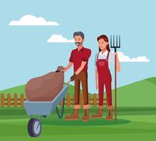 Jordbrukare som arbetar i lantgårdsteckningar