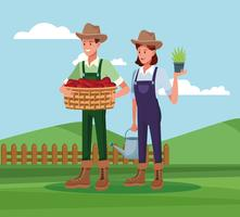 Farmers working in farm cartoons vector