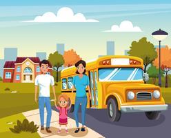 rentrer à l'école avec bonheur