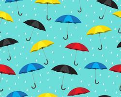 Nahtloses Muster des bunten Regenschirmes mit den Tropfen, die auf blauem Hintergrund regnen - Vector Illustration