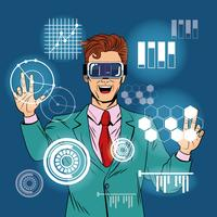 Empresario de realidad virtual de dibujos animados de arte pop