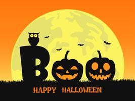 Fondo de Halloween con sonrisa diablo de calabaza en cementerio y la luna llena