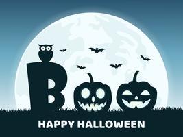 Halloween-achtergrond met de duivel van de glimlachpompoen in kerkhof en de volle maan