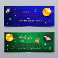 Merry Christmas and Happy New Year. Banner, greeting card design. vector