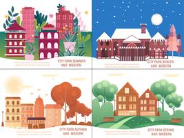 Nature vacances paysage Illustrations Set.