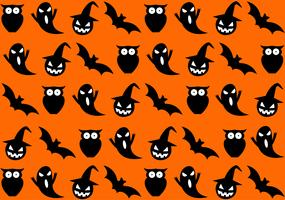 Seamless halloween mönster på orange bakgrund - vektorillustration