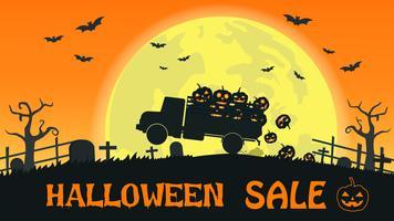 Banner de venta de Halloween con camión transportar sonrisa calabaza en el fondo de luna llena - ilustración vectorial