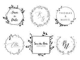 Bröllop inbjudan blommig krans minimal design