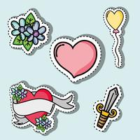 set valentines day patches design