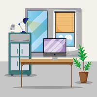 Oficina con escritorio y accesorios planos para trabajar.