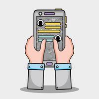 manos con mensaje de chat de teléfono inteligente