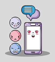 smartphone avec message de bulle de discussion et emoji