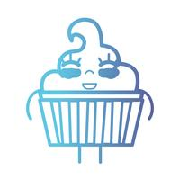 line kawaii söt glad söt muffin