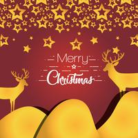 merry christmas stars with reindeers decoration