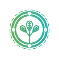 line ecology emblem with plant inside