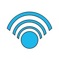color wifi symbol to connection in the digital web