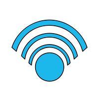 cor símbolo wifi para conexão na web digital