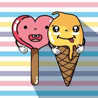 espressione di facce di gelato kawaii