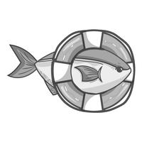 grayscale fish with life buoy object design