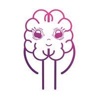 Linie süßes Gehirn kawaii mit Armen und Beinen