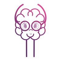line adorable brain kawaii with glasses