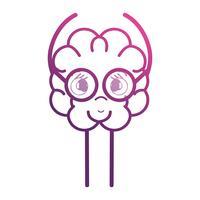 linha adorável cérebro kawaii com óculos