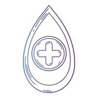 linea goccia di sangue al simbolo donazione medica