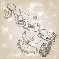 frutas dibujadas a mano