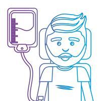 Linie Mann mit Blutspende Spendertransfusion