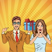 Pop art business couple with present cartoon