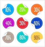 Verzameling kleurrijke verkoop stickers en labels