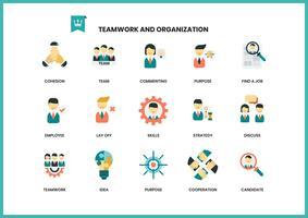 Teamwerk pictogrammen instellen voor het bedrijfsleven