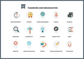 Conjunto de ícones de trabalho em equipe para negócios
