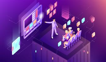 Vector illustration gradient isometric business presentation slide graph infographics design audience viewers listeners speaker speech orator speechmaker screen advertising politic election manager