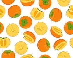 Seamless pattern of fresh persimmon fruit  isolated on white background