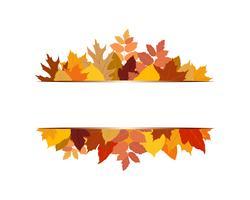 Vector Illustration des verschiedenen bunten Herbstlaubs mit Fahne auf weißem Hintergrund
